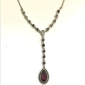Monet Silver Necklace With Garnet Teardrop